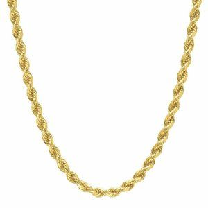 """18k 4mm Rope Necklace Real 18"""" Necklace"""
